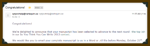 congratulation email from SYTYCW2013